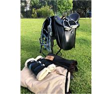 bates dressage saddle and horse gear